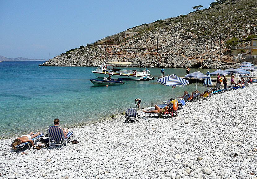 Part of the pebble beach of Marathounda in Symi.