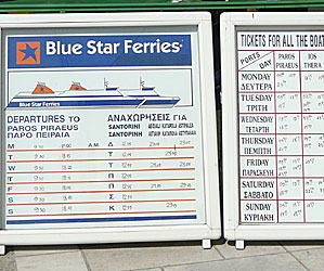 Ferry timetables. Greek Islands.